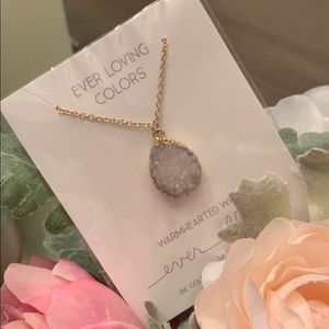 Gold Plated Druzy Warm White Pendant Necklace